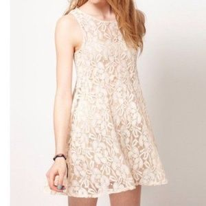 Free People Miles of Lace Skater Dress Ivory